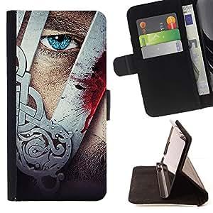 Momo Phone Case / Flip Funda de Cuero Case Cover - Vikingo Hombre Arte Máscara del guerrero Tough Blue Eye - LG G4