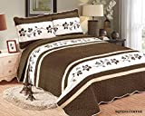 Beautiful Embroidery 3 piece Quilt Set with Shams. Soft All-Season Bedspreads Set & Coverlets Cover Set. (CAL KING, COFFER)