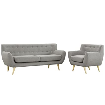 Sensational Modway Remark Mid Century Modern Sofa And Armchair Living Room Furniture With Upholstered Fabric In Light Gray Ibusinesslaw Wood Chair Design Ideas Ibusinesslaworg