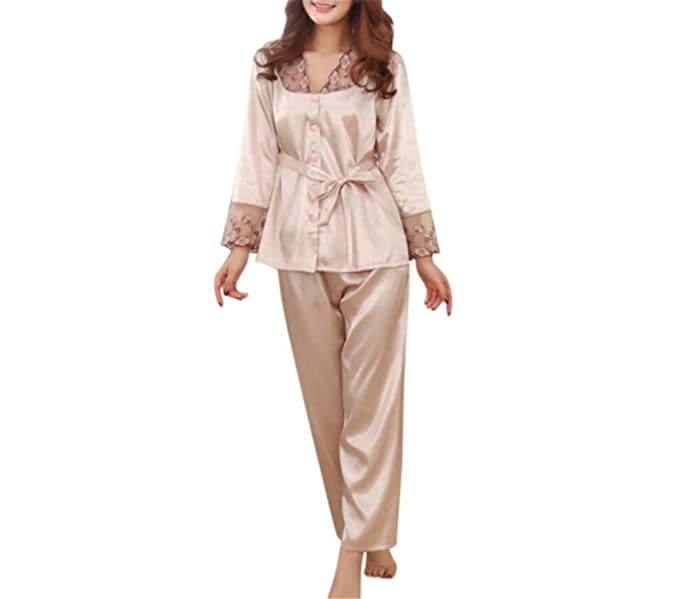 8c2b0f6abedd Autumn Winter Pajamas for Women Purple Gold Pink Silk Pajama Set Sexy Lingerie  Sleepwear Christmas Clothes