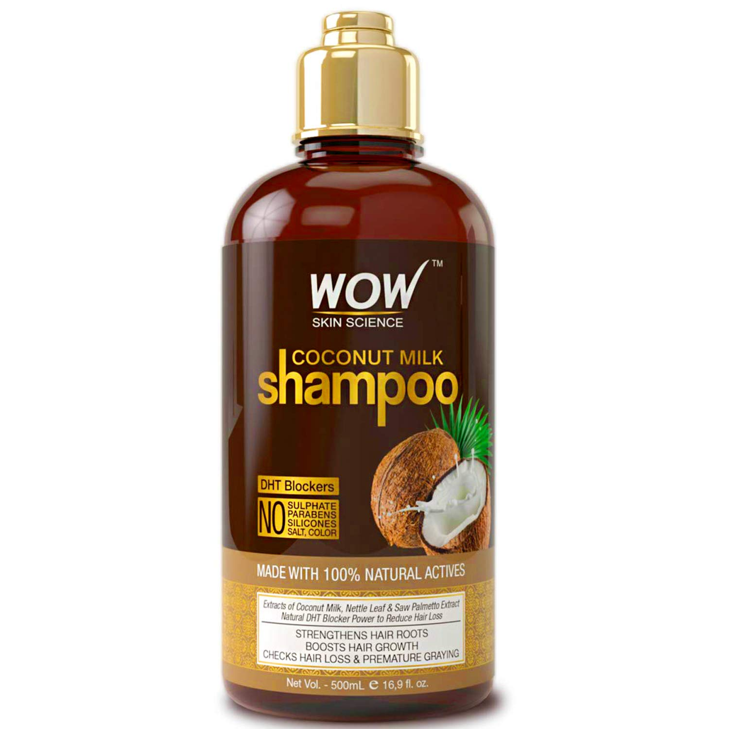 WOW Coconut Milk Shampoo - DHT Blockers Slow Down Hair Loss, Grey Hair, Stimulate Growth For Thick, Glossy Hair - Paraben, Sulfate, Salt, Silicone Free - All Hair Types, Adults & Children - 500 mL by BUYWOW