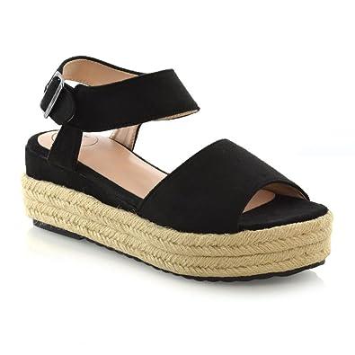 910e38d26ac1f ESSEX GLAM Womens Espadrilles Wedge Platform Heel Ladies Peep Toe Summer Sandals  Size 3-8