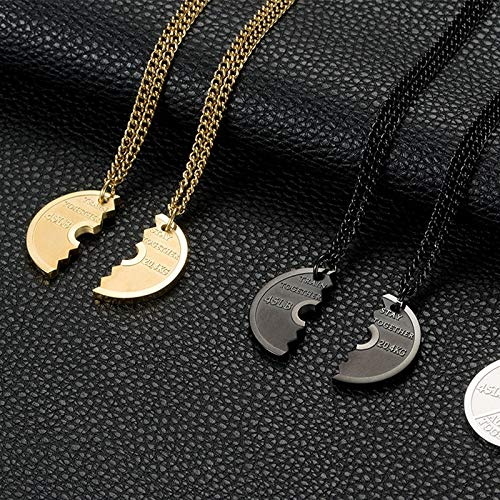 Davitu European Fitness Barbell Piece Pendant Necklace for Women Men Sports Equipment Couple Necklace Stainless Steel Jewelry Gifts Metal Color: Gold Right, Length: 55cm