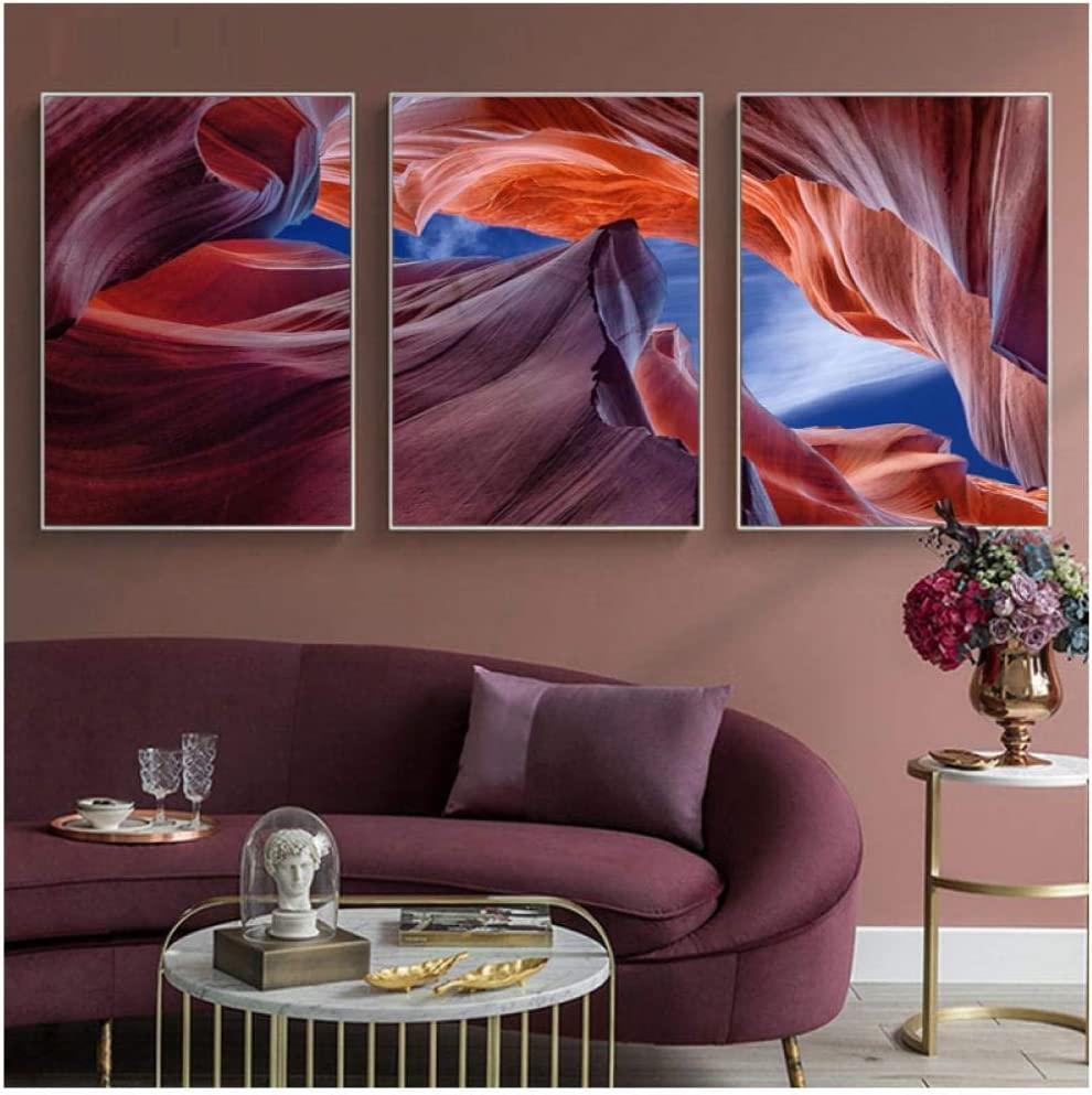 Amazon Com Yesheng Desert Landscape Canvas Prints Antelope Slot Canyon Art Rocks Posters Painting Wall Large Wild Land Pictures Boho Decoration 40x60cmx3 Piece Unframed Canvas Wall Art Posters Prints