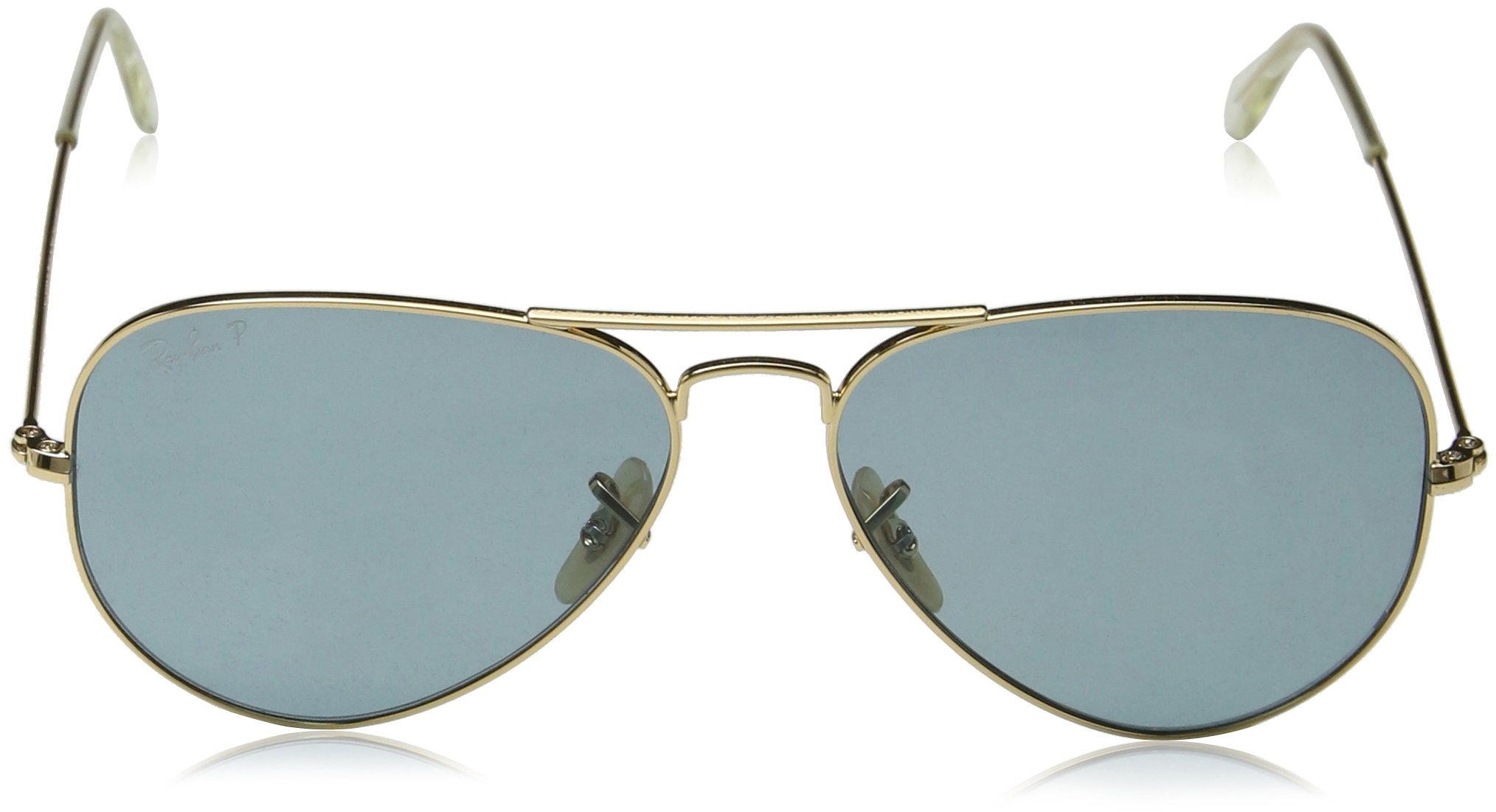 Ray-Ban 3025 Aviator Large Metal Non-Mirrored Polarized Sunglasses, Gold/Green, 55mm by Ray-Ban (Image #3)