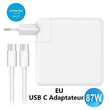 MacBook Pro cargador, ameriguy 87 W USB-C adaptador con 2 m ...