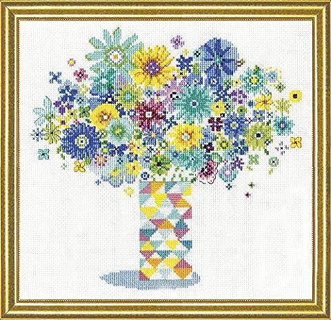 Design Works Blue Floral Quilt Vase Counted Cross Stitch Kit - Floral Counted Cross Stitch