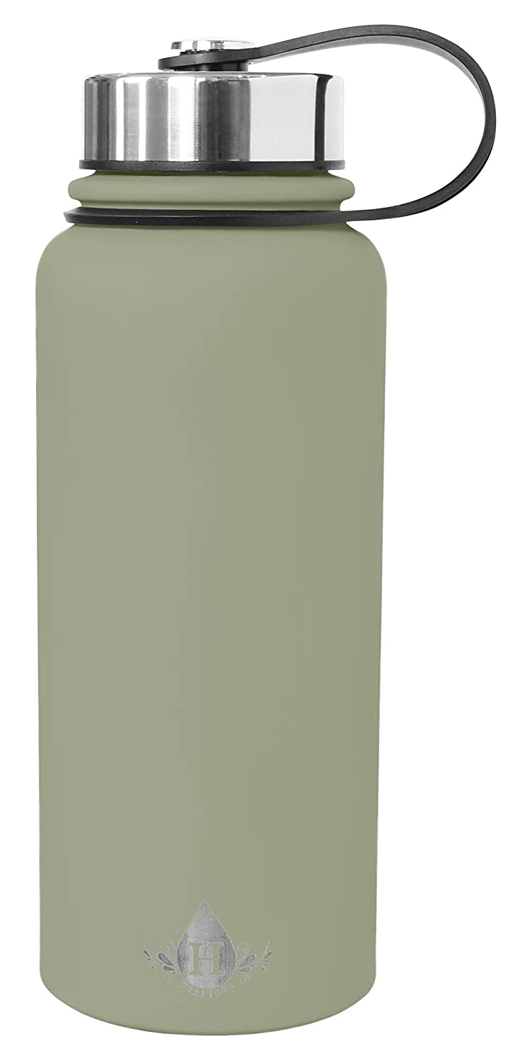 Gourmet Home Products 185179 Double Wall Stainless Steel Vacuum Insulated Water Bottle 30 oz Chrystal Gray