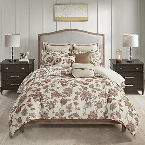 MADISON PARK SIGNATURE Wentworth Jacquard Comforter Bedding Set, Queen, Red