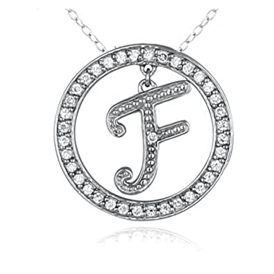 Pretty jewellery f initial circle pendant necklace in 925 pretty jewellery f initial circle pendant necklace in 925 sterling silver w mozeypictures Gallery