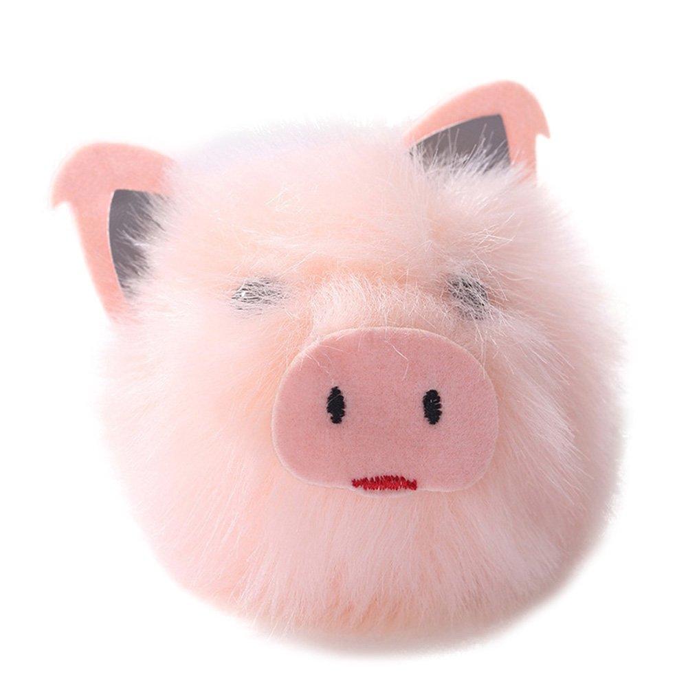 Slendima Lovely Pink Pig Head Pendant Key Chain Cute Fluffy Ball Key Ring Handbag Decor Pink