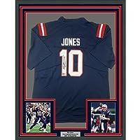 $549 » Framed Autographed/Signed Mac Jones 33x42 New England Blue Football Jersey Beckett BAS COA