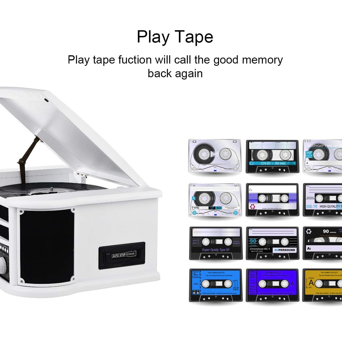 MUSITREND Tocadiscos (33 / 45 / 78 RPM) estéreo de 3 velocidades con Altavoces incorporados, Sistema de Audio para el hogar (BT, Am/FM Radio, ...