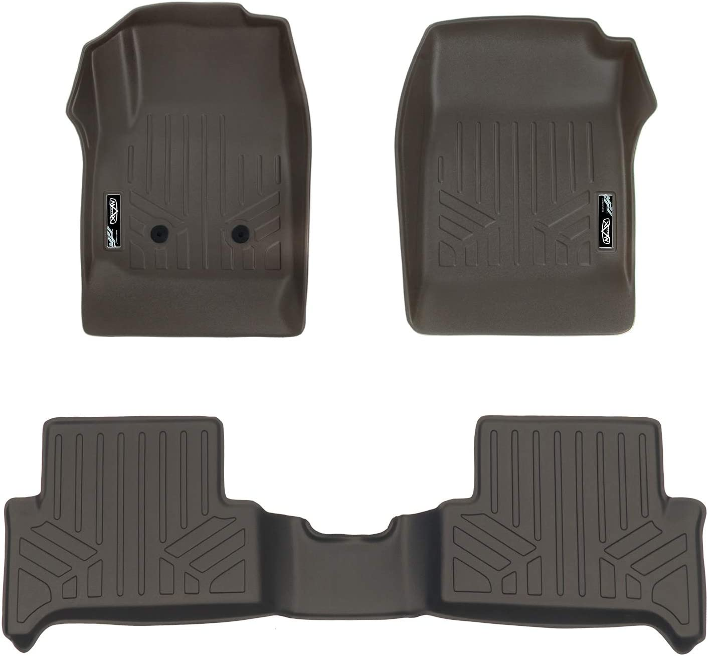 MAXLINER Floor Mats 2 Row Liner Set Cocoa for 2015-2018 Chevy Colorado Extended Cab//GMC Canyon Extended Cab