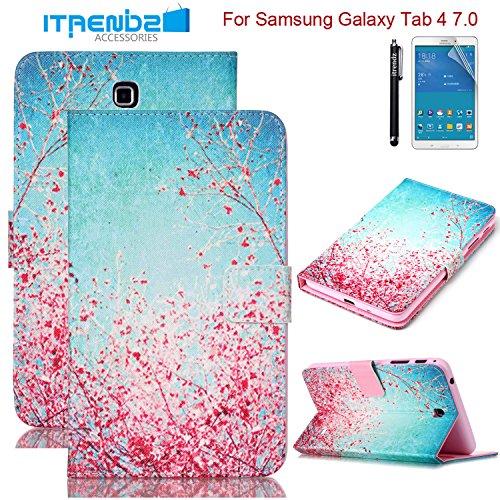 Galaxy Tab 4 7.0 Case, Tab 4 7.0 Case, Itrendz [Cute Case] Cherry Blossoms PU Leather Flip Case (Samsung Galaxy Tab 4 7 Stand)