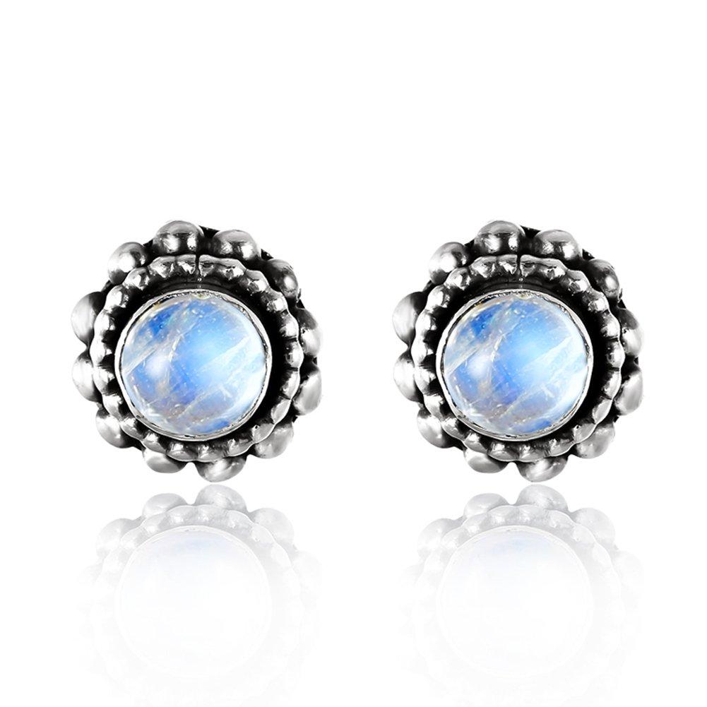 Luna Azure Colored Gems Moonstone Vintage Style 925 Sterling Silver Stud Earrings Women Girls Festival Gift Present