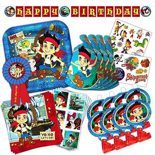 Disney Junior Jake and the Neverland Pirates Party Supplies Set -- Birthday Party Decorations, Party Favors, Plates, Napkins and More! (Jake The Neverland Pirate Party Supplies)