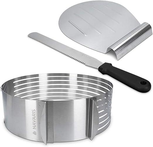 Edelstahl Tortenschneider Kuchen Torten Boden teiler Cutter Einstellbare Ring