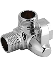 "G1/2"" Brass 3-Way Bathroom Angle Valve Anti-Rust Brass Shower Head Diverter Valve Tap T-Adapter Splitter Brass Shower Arm Diverter Valve for Hand Held Showerhead and Fixed Spray Head Polished Chrome"