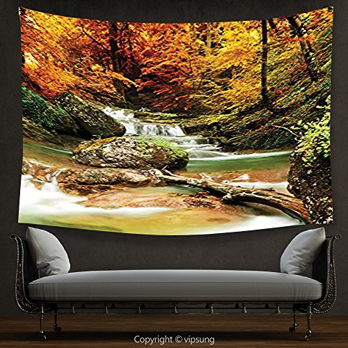 (House Decor Tapestry Waterfall Decor Collection Autumn Creek Woods Trees and Foliage Rocks in Forest Picture Orange Green Beige Wall Hanging for Bedroom Living Room Dorm)