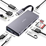 USB C HUB,James Donkey USB C Docking Station,10 in 1 Triple Display USB Type C Adaptor With HDMI,VGA,3 USB 3.0 Ports,SD TF Card Reader,Compatible For MacBook Other Type C Laptop and Some Mobile Phones