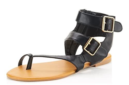 710b19b2b DREAM PAIRS TRENTCH Women s Fashion Gladiator Double Buckle Ring Toe Ankle  Flat Summer Sandals Black PU