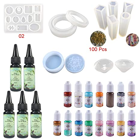 Resina Epoxi con Pigmento de Color y Moldes para Hacer Joyas, 5 Resina Transparente UV + ...