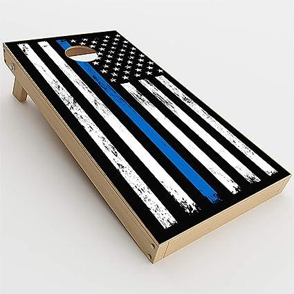 Thin Blue Line Cornhole Board Wraps Laminated Sticker Set Skin Decal