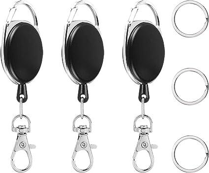 3 x Retractable ID Badge Reel Holder Identity Pass Black Keychain Belt Clip
