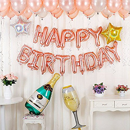 DIvine Birthday Party Decorations Kit - Rose Gold Happy Birthday Banner Latex Balloons Champagne Bottle Goblet Stars for Birthday Party Supplies Set ()