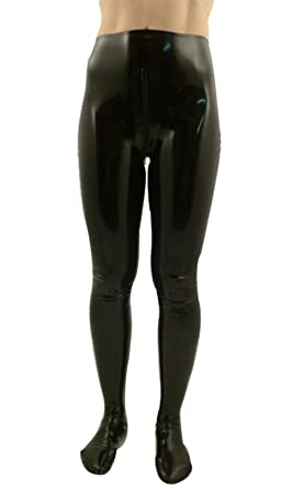Avacostume Mens Black Latex Leggings Pants With Feet And Crotch Zipper Xxs Armygreen