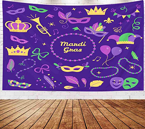 Tooperue Large Tapestry Wall Hanging, Dormitory Tapestry Decoration Outdoor 80X60 Inch Set Mardi Gras Elements Carnival Mask Trumpet Crown Ribbon Art Tapestry Beach Blanket Camping Tapestry ()