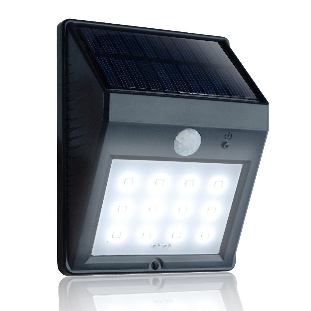 eToplighting 12 LED Super Bright Solar Power Light, Weatherproof Security Light Motion Sensor Light for Patio Garden Pool Path APL1335