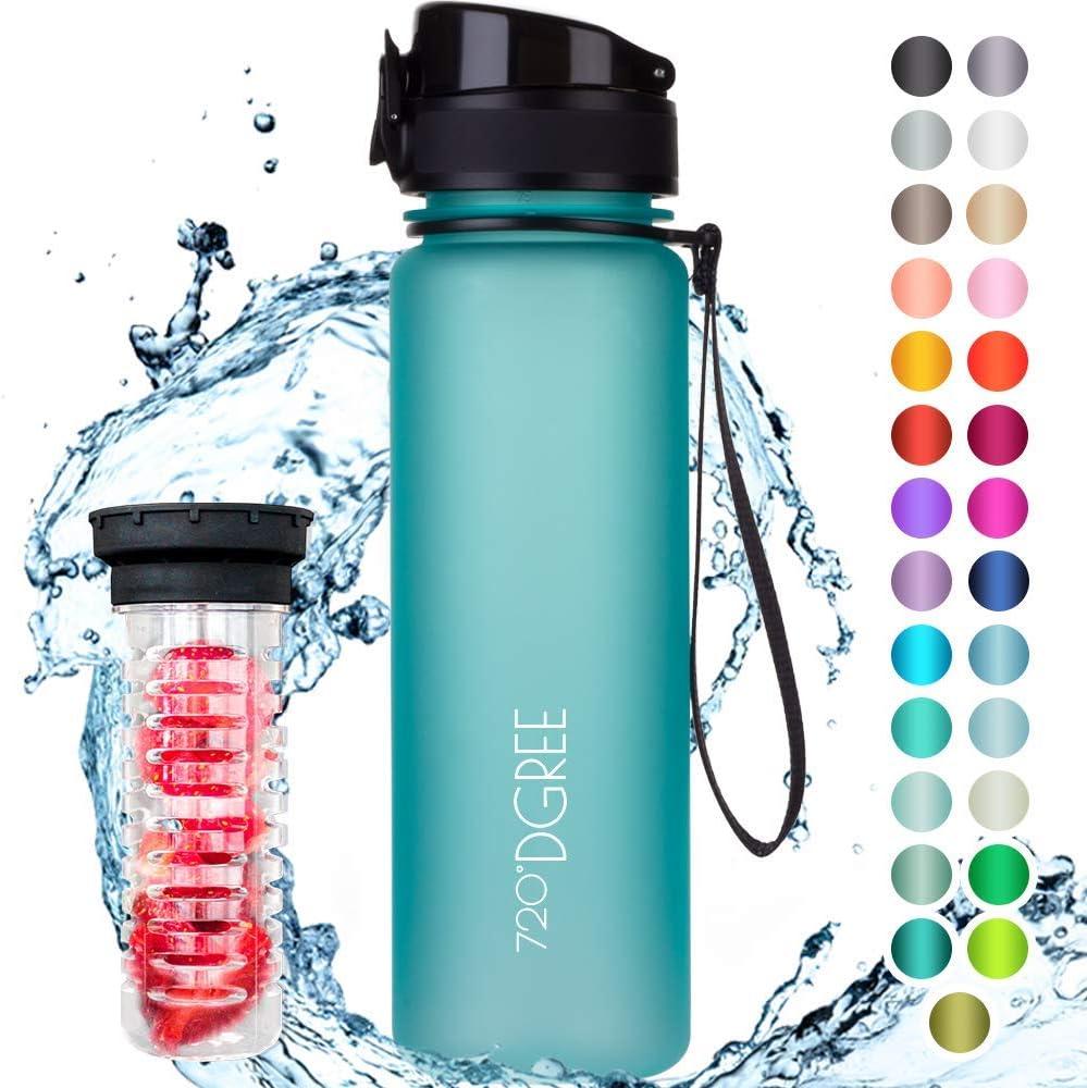 """720°DGREE Botella de Agua """"uberBottle"""" – 500ml   Impermeable y Reutilizable   para Beber Ideal para niños, Deporte, Escuela   Sin BPA   con Inserto de Fruta"""