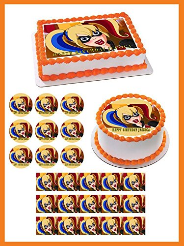 D.C. Super Hero Harley Quinn Edible Cake Topper & Cupcake Toppers - 2' cupcake (12 pieces/sheet) inches