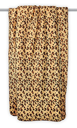 Home Essentials DII Super Soft Plush Flannel Fleece Sherpa Blanket Throw For Chair, Couch, Picnic, Camping, Beach, Everyday Use, 50 x 60 - Leopard