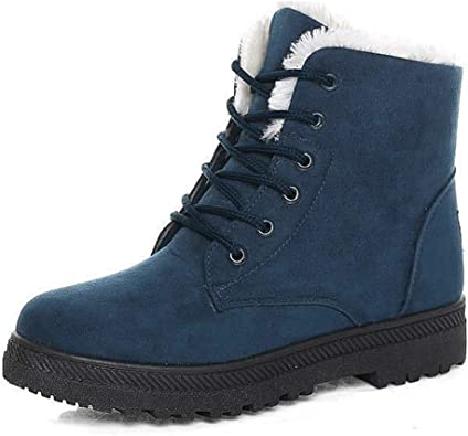 Women Winter Warm Snow Boots Fur Lined Lace Up Ankle Boots Waterproof Shoes Plus