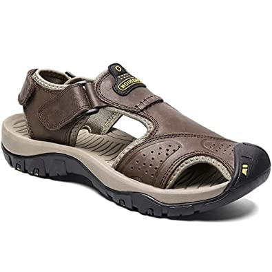 196d09569493 visionreast Mens Leather Sandals Outdoor Hiking Sandals Waterproof Athletic  Sports Sandals Fisherman Beach Shoes Closed Toe