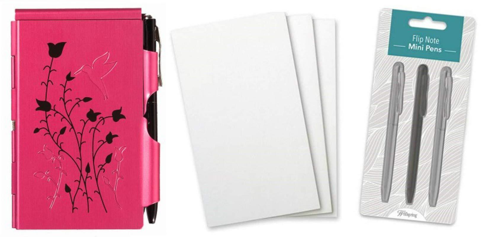 Wellspring Flip Note Notepad Set: Natural Elements Raspberry Hummingbird Flip Note, 3 Flip Note Refill Pads and a 3 Mini Pen Refill