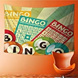 Nalahome Wall Hanging Tapestries Wall Art Tapestries Wall Tapestries Bingo Game with Ball and Cards Pop Art Stylized Lottery Hobby Celebration Theme Tapestry Dorm Decor Tapestry(80W x 59L INCH)