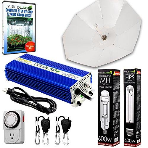 Yield Lab 600w HPS+MH Umbrella Reflector Digital Grow Light Kit