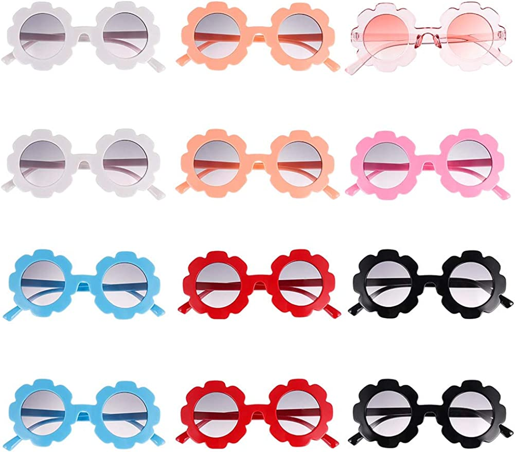 jiangying 12 Pieces Flower Sunglasses for Kids Round Cute Glasses for Boys Girls Party Favors