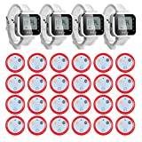 KERUI Wireless Waiter Service Calling System Paging System Pack of 24 Buzzers And 4 Pcs Watches for Restaurant, Hospital, Bank,Construction Site, Hotel Guest Room, Office Needs of Waiter