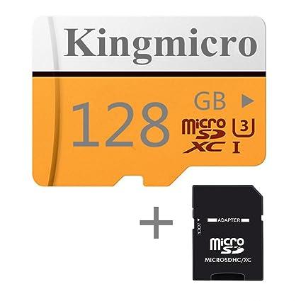 Kingmicro - Tarjeta Micro SD de Alta Velocidad (Clase 10, con Adaptador SD estándar) 128 GB