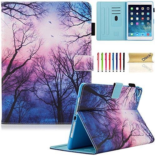 Dteck iPad 9.7 Inch 2018 2017 Case / iPad Air 2 Case / iPad Air Case - PU Leather Multi-Angle Folio Stand Smart Case with Auto Sleep/Wake Feature for Apple iPad 6th/5th Gen,iPad Air 1 2, Forest Night