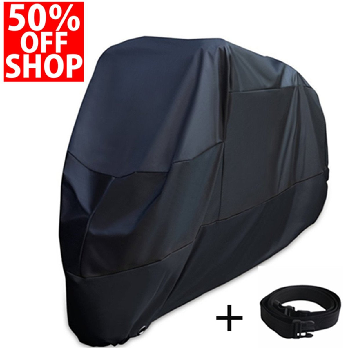 XYZCTEM Motorcycle Cover -Waterproof Outdoor Storage Bag,Fits up to 108 inch Motors,Compatible with Harley Davison and Most motors(Black& Lockholes& Professional Windproof Strap)