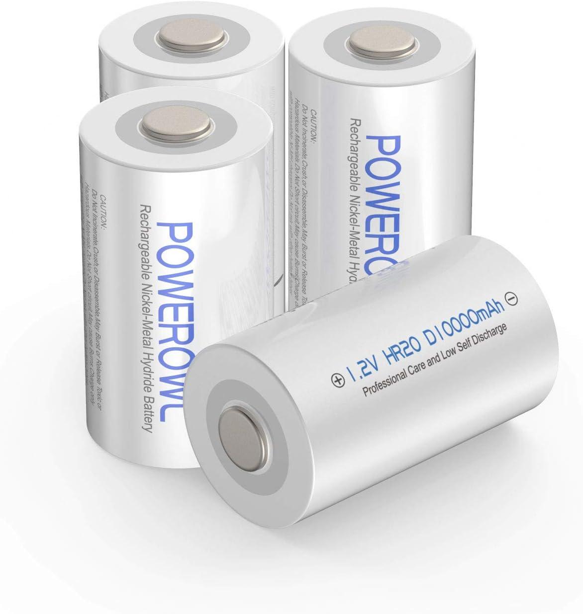 POWEROWL D Pilas Recargables Alta Capacidad 10000mAh 1.2V Ni-MH Precarga D Bateria Recargables Baja Autodescarga (4 Paquete, Recargable Aproximadamente 1200 Veces)