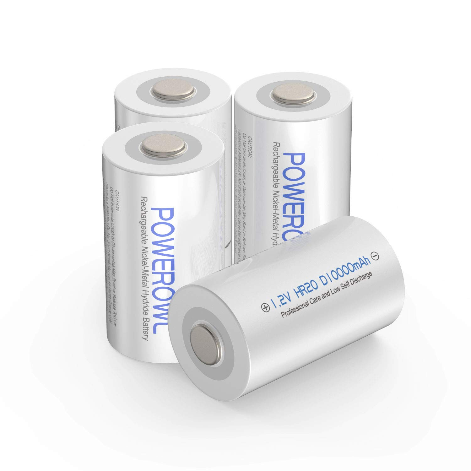 POWEROWL Rechargeable D Batteries 10000mah Low Self Discharge, NiMH, Pre-Charged, 4 Count (Recharge Universal) by POWEROWL