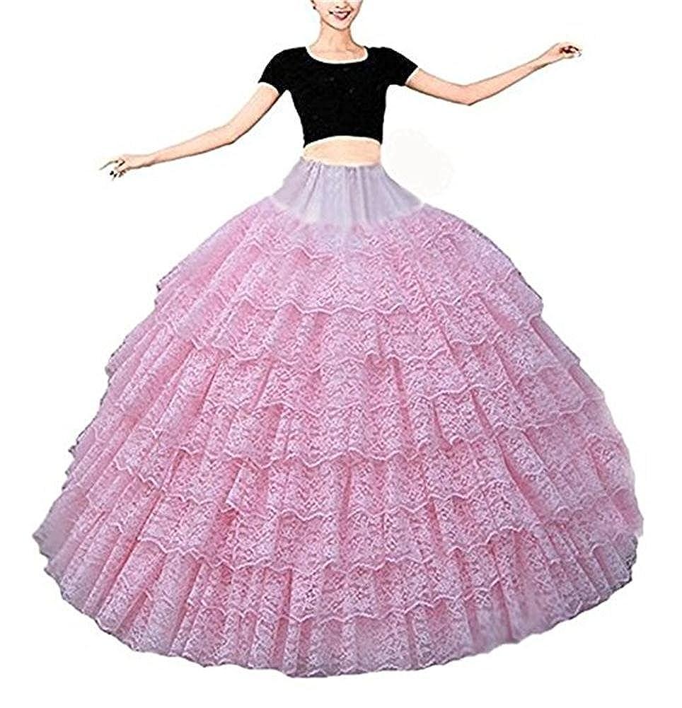 Derobea Women's Multi-Tier Hooped Ruffles Plain Style Vintage Lace Petticoat