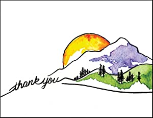 Mountain Sun Thank You Cards - Note Cards Set of 12 Cards and Envelopes